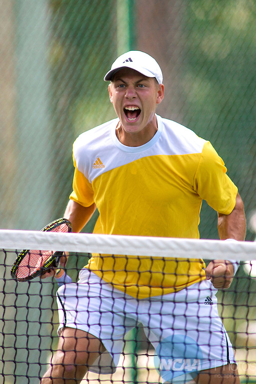 16 MAY 2009:  Mikk Irdoja of Armstrong Atlantic State University reacts to a point against Barry University during the Division II Men's Tennis Championship held at Sanlando Park in Altamonte Springs, FL. Armstrong Atlantic State University beat Barry University 5-4 to claim the national title. Chris Livingston/NCAA Photos