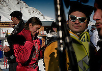 Glitz of St Moritz<br /> Skiers in colorful attire brighten the slopes at trendy St. Mortiz, an exclusive resort town in the Engadine Valley of Switzerland.