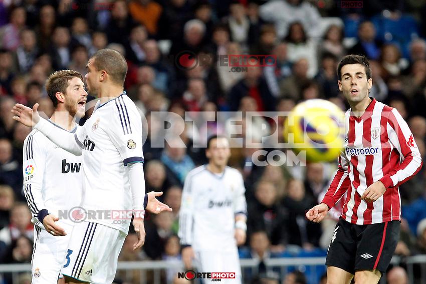 Real Madrid CF vs Athletic Club de Bilbao (5-1) at Santiago Bernabeu stadium. The picture shows Sergio Ramos, Pepe and Markel Susaeta. November 17, 2012. (ALTERPHOTOS/Caro Marin) NortePhoto