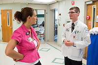 St. Mary's Medical Center. Clerkship coordinator Michelle VIncent, left, and Jonathan Galli, class of 2014.