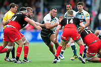 Ellis Genge of Leicester Tigers takes on the Saracens defence. Aviva Premiership semi final, between Saracens and Leicester Tigers on May 21, 2016 at Allianz Park in London, England. Photo by: Patrick Khachfe / JMP