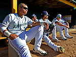 8 July 2012: The Vermont Lake Monsters catcher Bruce Maxwell (foreground) waits to take the field prior to a game against the State College Spikes at Centennial Field in Burlington, Vermont. The Lake Monsters rallied from a 2-0 late inning deficit, to defeat the Spikes 8-2 in NY Penn League action. Mandatory Credit: Ed Wolfstein Photo