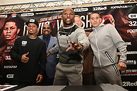 Floyd Mayweather (C) with Gervonta Davis (L) and Liam Walsh during a Press Conference at the Landmark Hotel on 18th May 2017