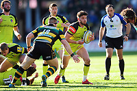 Owen Williams of Leicester Tigers takes on the Northampton Saints defence. Aviva Premiership match, between Northampton Saints and Leicester Tigers on March 25, 2017 at Franklin's Gardens in Northampton, England. Photo by: Patrick Khachfe / JMP