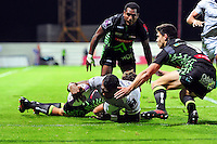 Semesa Rokoduguni of Bath Rugby reaches for the Pau try-line. European Rugby Challenge Cup match, between Pau (Section Paloise) and Bath Rugby on October 15, 2016 at the Stade du Hameau in Pau, France. Photo by: Patrick Khachfe / Onside Images