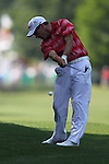 May 8,2011 - Brian Davis hits his second shot on 10.  Lucas Glover wins the tournament in sudden death over Jonathan Byrd at Quail Hollow Country Club,Charlotte,NC.