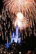 Orlando, Florida - Circa 1986. Fireworks show at Cinderella's Castle in the Magic Kingdomof Disney World. Disney World is a world-renowned entertainment complex that opened October 1, 1971 in Lake Buena Vista, FL. Now known as the Walt Disney World Resort, the property covers 25,000 acres and has an annual attendance of 52.5million people.