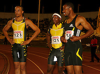 Wallace Spearman, Mike Rodgers and Darvis Patton watch the replay of the 100m dash at the Jamaica International Invitational Meet on Saturday, May 3rd. 2008. Photo by Errol Anderson, The Sporting Image.