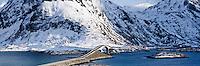 Panoramic view of bridge over Selfjord connecting Flakstadøya and Moskenesøya at Fredvang, Lofoten islands, Norway