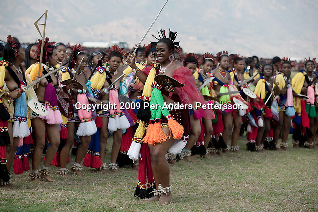 Swazi family dance with young girls dance at a traditional reed dance
