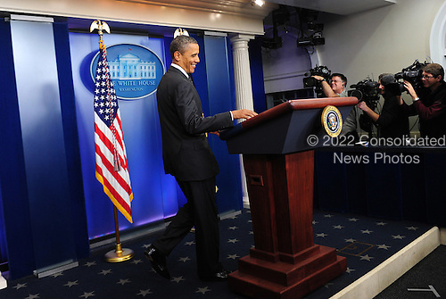 """United States President Barack Obama arrives in the Brady Press Briefing Room to make a statement regarding the failure of Congress' deficit reduction super committee in the Brady Press Briefing Room of the White House in Washington on November 21, 2011. Obama blamed Republicans for the failure of the process meant to cut $1.2 trillion from the budget but called on Congress to """"keep trying.""""  .Credit: Kevin Dietsch - Pool via CNP"""