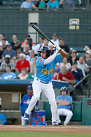 Myrtle Beach Pelicans infielder Bryant Flete (3) at bat during a game against the Wilmington Blue Rocks at Ticketreturn Field at Pelicans Ballpark on April 26, 2017 in Myrtle Beach, South Carolina. Myrtle Beach defeated Wilmington 7-3. (Robert Gurganus/Four Seam Images)