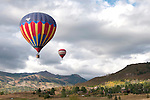 Two balloons soar at Snowmass Balloon Festival, Colorado, Sept. 118-20, 2009