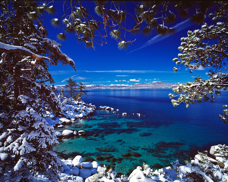 Lake Tahoe Scenic Emerald Waters Winter Frame