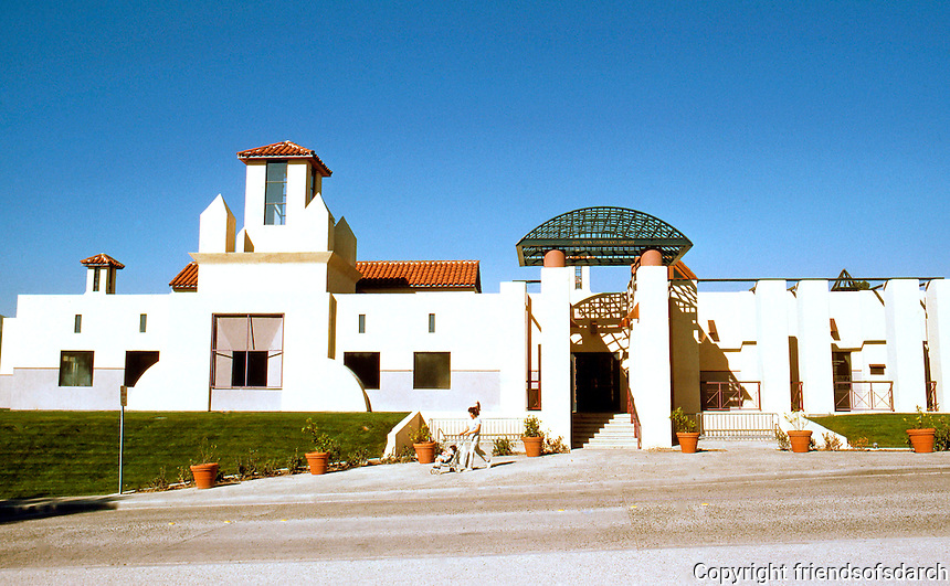 Michael Graves: San Juan Capistrano Public Library. 1984. Elevation.  Photo '86.