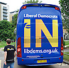 Liberal Democrats Remain IN Campaign event with their battle bus in Mile End, London, Great Britain <br /> 19th June 2016 <br /> <br /> rear view of battle bus <br /> <br /> <br /> Photograph by Elliott Franks <br /> Image licensed to Elliott Franks Photography Services