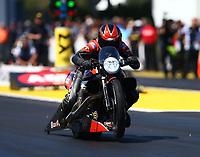 Mar 18, 2017; Gainesville , FL, USA; NHRA pro stock motorcycle rider Eddie Krawiec during qualifying for the Gatornationals at Gainesville Raceway. Mandatory Credit: Mark J. Rebilas-USA TODAY Sports