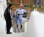 7 February 2009: Thor Haug Norbech, sliding for Norway, leaves the track after falling off his sled during the first run in the Men's Competition at the 41st FIL Luge World Championships, in Lake Placid, New York, USA. .  .Mandatory Photo Credit: Ed Wolfstein Photo