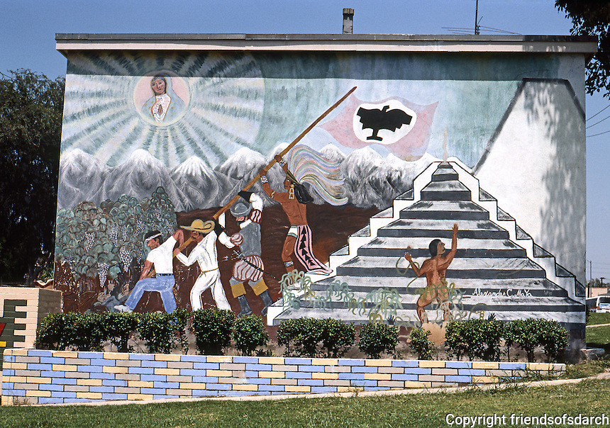 Los Angeles: Mural on Estrada Court, Boyle Heights, 1975. Photo '85.