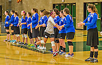 1 November 2015: Yeshiva University Maccabee Defensive Specialist and Outside Hitter Carol Jacobson, a Senior from Seattle, WA, is introduced prior to facing the SUNY College at Old Westbury Panthers at SUNY Old Westbury in Old Westbury, NY. The Panthers edged out the Maccabees 3-2 in NCAA women's volleyball, Skyline Conference play. Mandatory Credit: Ed Wolfstein Photo *** RAW (NEF) Image File Available ***