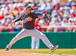 11 March 2013: Atlanta Braves pitcher Anthony Varvaro on the mound during a Spring Training game against the Washington Nationals at Space Coast Stadium in Viera, Florida. The Braves defeated the Nationals 7-2 in Grapefruit League play. Mandatory Credit: Ed Wolfstein Photo *** RAW (NEF) Image File Available ***
