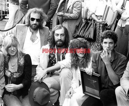 Fleetwood Mac 1979 Christine McVie, John McVie, Mick Fleetwood, Stevie Nicks and Lindsey Buckingham receive star on Hollywood Walk Of Fame..© Chris Walter.