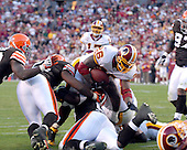 Landover, MD - October 19, 2008 -- Washington Redskins running back Clinton Portis (26) scores a touchdown in the third quarter against the Cleveland Browns at FedEx Field in Landover, Maryland on Sunday, October 19, 2008.  Portis ran for 175 yards on 27 carries in the Redskins 14 - 11 victory..Credit: Ron Sachs / CNP
