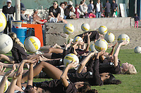 Members of the Santa Monica Volleyball Club practice at Santa Monica Muscle Beach on Tuesday, December 27, 2011