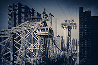 The Roosevelt Island Tramway in New York City that spans the East River along Queensboro Bridge and connects Roosevelt Island to the Upper East Side of Manhattan.