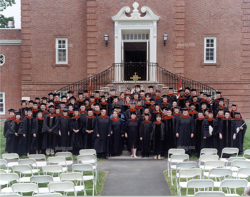 Yale Divinity Class of 2003 Official Commencement Photograph. Group Robed before Commencememt Worship on Sunday.