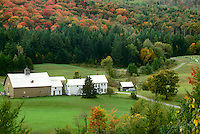 Rural Vermont multi-generational family farm in autumn Mountains near Peacham