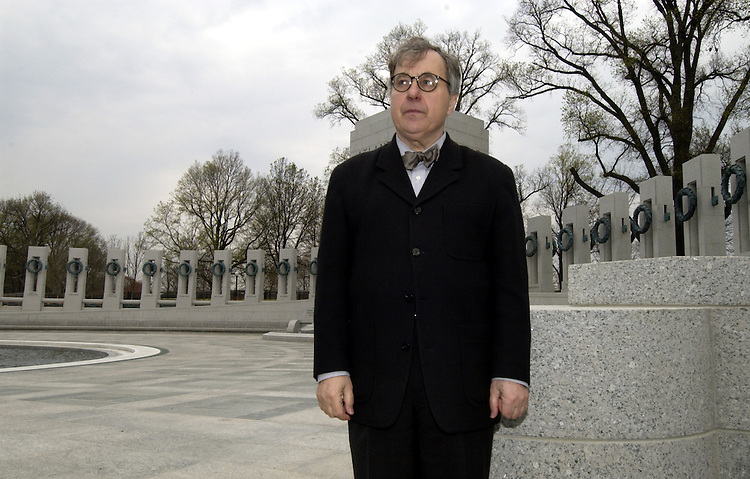 Friedrich St.Florian, AIA, Design Architect talks with the media about his design of the National World War II Memorial on the National Mall in Washingtonn, D.C.