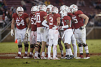 Stanford, CA - November 26, 2016: Huddle during the Stanford vs Rice game Saturday at Stanford Stadium.<br /> <br /> Stanford won 41- 17.
