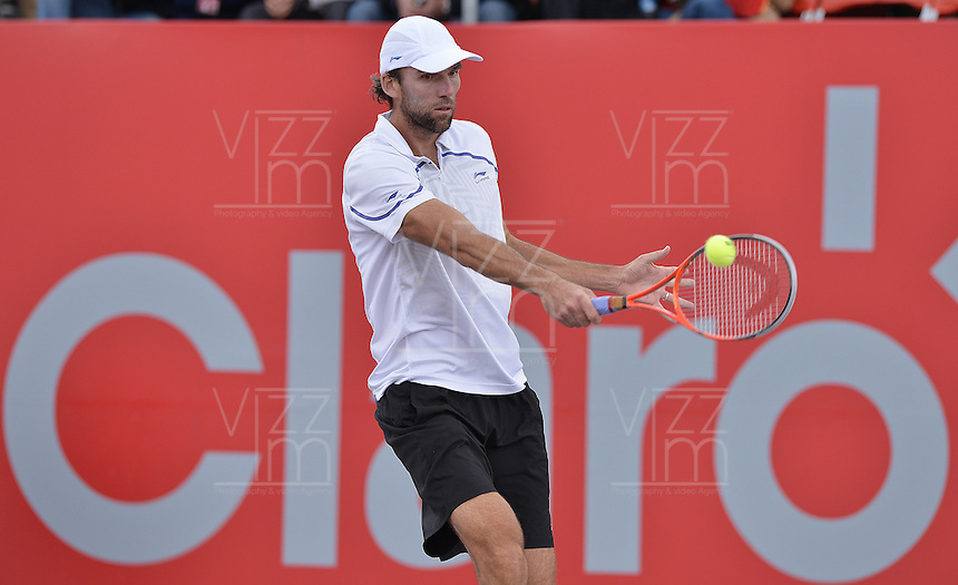 BOGOTÁ -COLOMBIA. 21-07-2013. Ivo Karlovic (CRO) durante juego contra Alejandro Falla (COL) en la final del ATP Claro Open Colombia 2013 jugado en el Centro de Alto Rendimiento en Bogota./ Ivo Karlovic (CRO) during match against Alejandro Fall (COL) in the final of ATP Claro Open Colombia 2013 at Centro de Alto Rendimiento in Bogota city. Photo: VizzorImage / Str