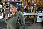 Nelida Alpiri is a Guarani indigenous leader in Bananal, a small village in the Chaco region of Argentina where residents have struggled to defend their land and their rights against giant agro-export plantations and cattle raisers. Here she drinks mate in the kitchen of her home.
