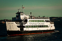 Tourist are transported in a ferry along the hudson river during a visit in New York, 9/01/12. New York City, with a population of over 8.1 million, is the most populous city in the United States. It is known for its status as a financial, cultural, transportation, and manufacturing center, and for its history as a gateway for immigration to the United States.   Photo by Eduardo Munoz Alvarez / VIEWpress.