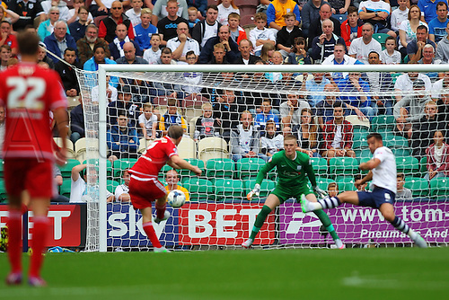 09.08.2015. Preston, England. Skybet Championship. Preston versus Middlesbrough. Grant Leadbitter of Middlesbrough early shot at goal goes narrowly wide