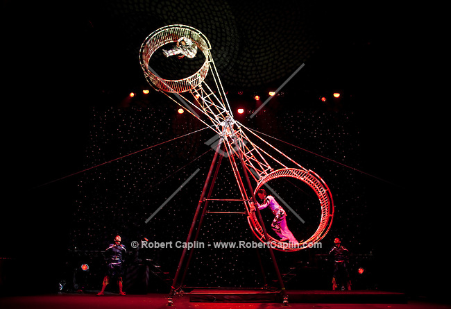 The Wheel of Death routine during the BAI XI Chinese Circus opening at The New Victory Theater in New York. ...Photo by Robert Caplin.