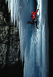Mark Twight climbing the frozen waterfall &quot;Stone Free&quot; in Rifle Colorado, USA.
