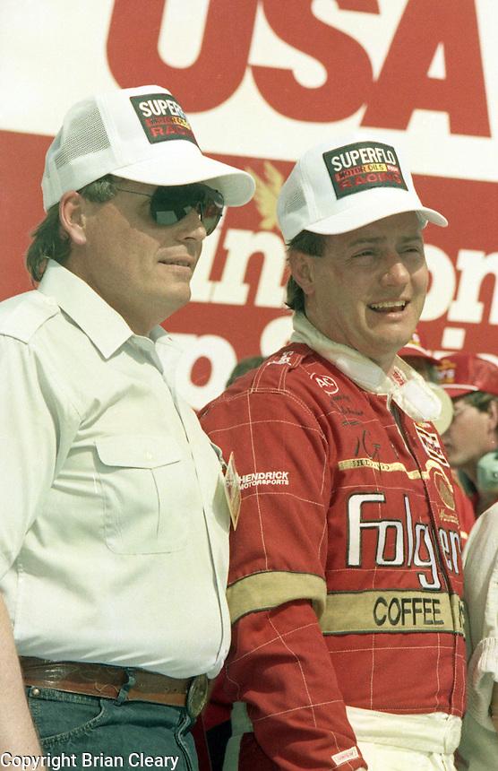 Ken Schrader Rick Hendrick victory lane 125 mile qualifying race for Daytona 500 at Daytona International Speedway on February 19, 1989.  (Photo by Brian Cleary/www.bcpix.xom)