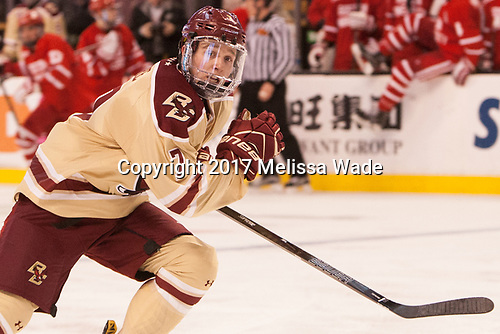 Connor Moore (BC - 7) - The Boston University Terriers defeated the Boston College Eagles 3-1 in their opening Beanpot game on Monday, February 6, 2017, at TD Garden in Boston, Massachusetts.