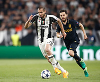 Football Soccer: UEFA Champions League semifinal second leg Juventus - Monaco, Juventus stadium, Turin, Italy,  May 9, 2017. <br /> Juventus' Giorgio Chiellini (l) in action with Monaco's Bernardo Silva (r) during the Uefa Champions League football match between Juventus and Monaco at Juventus stadium, on May 9, 2017.<br /> UPDATE IMAGES PRESS/Isabella Bonotto