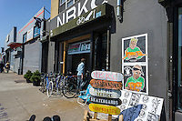 Bike shop in the Bushwick neighborhood of Brooklyn in New York on Saturday, April 27, 2013. The neighborhood is undergoing gentrification changing from a rough and tumble mix of Hispanic and industrial to a haven for hipsters, forcing many of the long-time residents out because of rising rents.. (©Richard B. Levine)