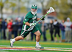 24 April 2012: Dartmouth College Big Green defender Mike Muller, a Freshman from Rocky Point, NY, in action against the University of Vermont Catamounts at Virtue Field in Burlington, Vermont. The Big Green defeated the Catamounts 10-5 in Men's Varsity Lacrosse action. Mandatory Credit: Ed Wolfstein Photo