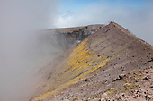 North Crater with volcanic gases and sulfur deposits, Mount Etna, Sicily, Italy