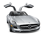 2011 silver Mercedes-Benz SLS AMG Coupe luxury grand tourer car