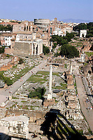 Rome 2007.Roman Forum, view from Campidoglio, back the Colosseum..Foro Romano-Palatino