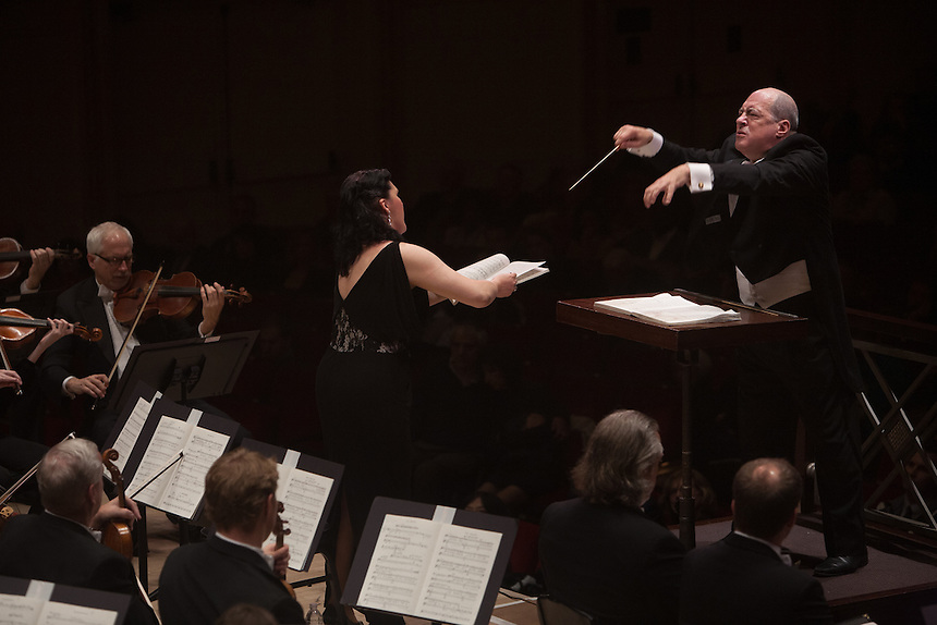 Soprano Evelina Dobracheva, led by Music Director and Conductor Robert Spano and the Atlanta Symphony Orchestra and Chorus performing Benjamin Britten's War of Requiem at Carnegie Hall in New York, NY on April 30, 2014.
