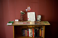 Details of the lobby of the Motel Caswell in Tewksbury, Massachusetts, USA, on Tuesday, Oct. 11, 2011. The motel is owned by Russell Caswell. Caswell's father built the motel in the 1950s. Now, conservative activitists are trying to use federal asset-forfeiture laws to seize the motel, saying that the motel is used by drug dealers to conduct business.  The legal challenge intends to show evidence tying the property to crimes in order to seize the motel.....CREDIT: M. Scott Brauer for the Wall Street Journal.slug: FORFEIT