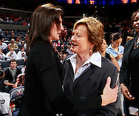 CHARLOTTESVILLE, VA- NOVEMBER 20: Head coach Joanne Boyle of the Virginia Cavaliers, left, hugs head coach Pat Summitt of the Tennessee Lady Volunteers before the start of the game on November 20, 2011 at the John Paul Jones Arena in Charlottesville, Virginia. Virginia defeated Tennessee in overtime 69-64. (Photo by Andrew Shurtleff/Getty Images) *** Local Caption *** Joanne Boyle;Pat Summitt